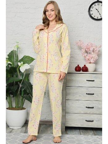 Akbeniz Kadın Pamuklu Düğmeli Cepli Uzun Kol Pijama Takım 2476