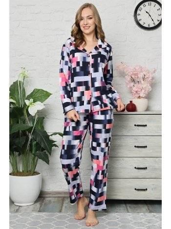 Akbeniz Kadın Pamuklu Düğmeli Cepli Uzun Kol Pijama Takım 2477