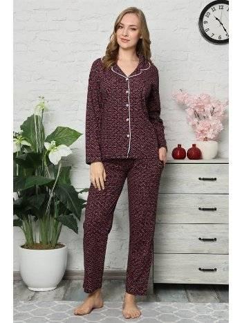 Akbeniz Kadın Pamuklu Düğmeli Cepli Uzun Kol Pijama Takım 2478
