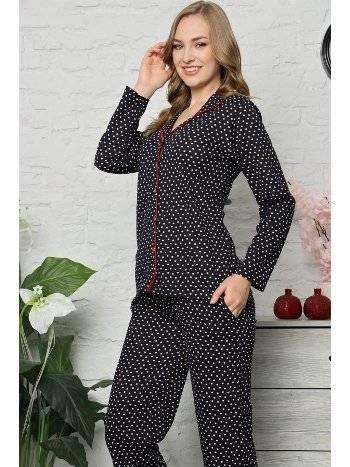 Akbeniz Kadın Pamuklu Düğmeli Cepli Uzun Kol Pijama Takım 2479