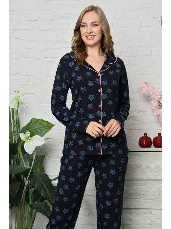 Akbeniz Kadın Pamuklu Düğmeli Cepli Uzun Kol Pijama Takım 2480