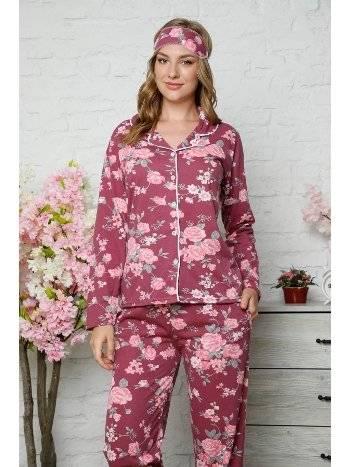 Akbeniz Kadın Pamuklu Düğmeli Cepli Uzun Kol Pijama Takım 2481