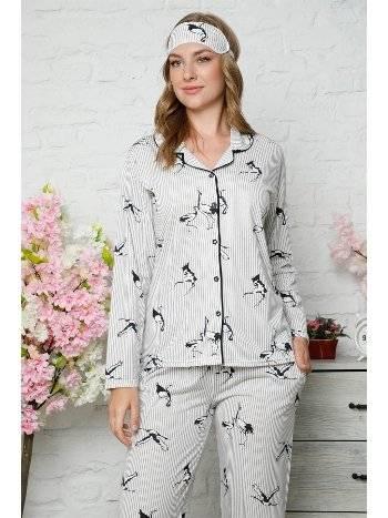 Akbeniz Kadın Pamuklu Düğmeli Cepli Uzun Kol Pijama Takım 2483