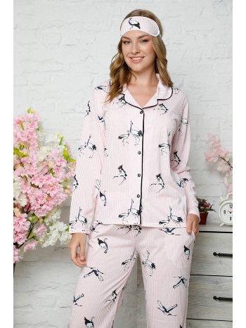 Akbeniz Kadın Pamuklu Düğmeli Cepli Uzun Kol Pijama Takım 2484