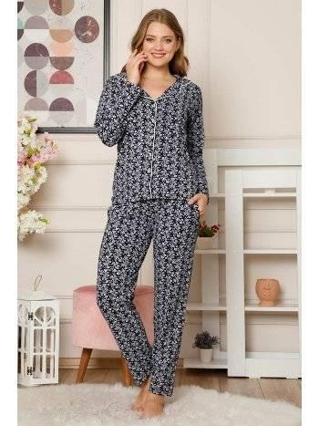 Akbeniz Kadın Pamuklu Düğmeli Cepli Uzun Kol Pijama Takım 2485