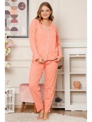 Akbeniz Kadın Pamuklu Düğmeli Cepli Uzun Kol Pijama Takım 2486