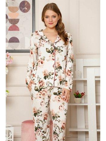 Akbeniz Kadın Pamuklu Düğmeli Cepli Uzun Kol Pijama Takım 2487