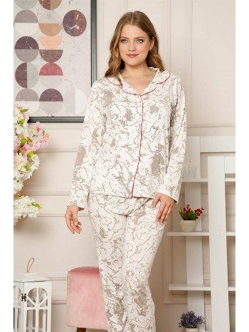 Akbeniz Kadın Pamuklu Düğmeli Cepli Uzun Kol Pijama Takım 2488