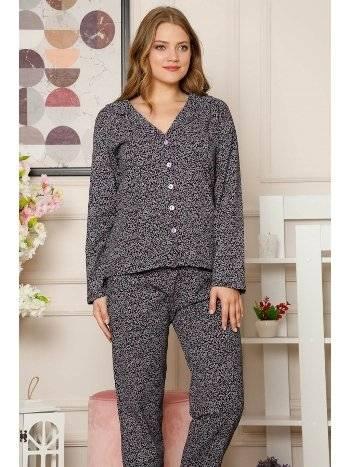 Akbeniz Kadın Pamuklu Düğmeli Cepli Uzun Kol Pijama Takım 2491