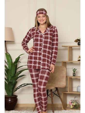 Akbeniz Kadın Pamuklu Düğmeli Şardonlu Taytlı Uzun Kol Pijama Takım 2498