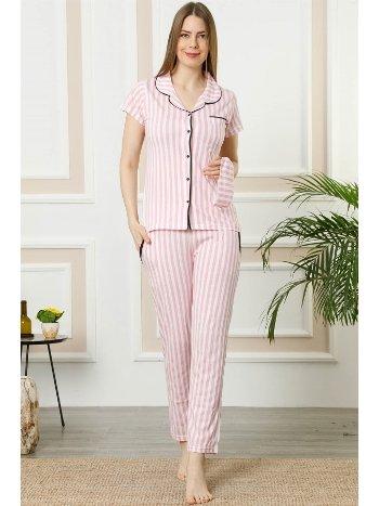 Akbeniz Kadın Pembe Ekru Pamuklu Düğmeli Cepli Kısa Kol Pijama Takım 2388