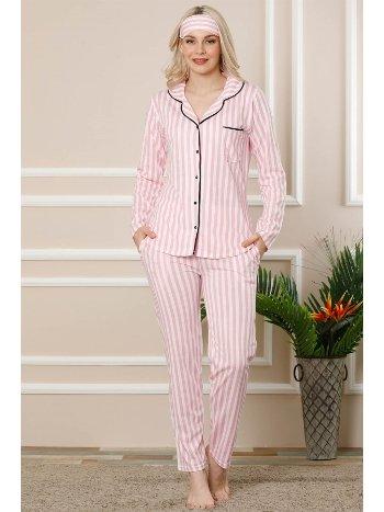 Akbeniz Kadın Pembe Ekru Pamuklu Düğmeli Cepli Uzun Kol Pijama Takım 2456