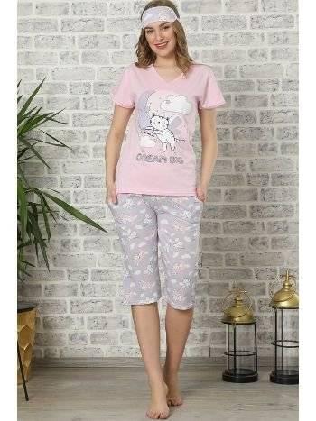 Akbeniz Kadın Pembe Pamuklu Cepli Kapri Pijama Takım 3506