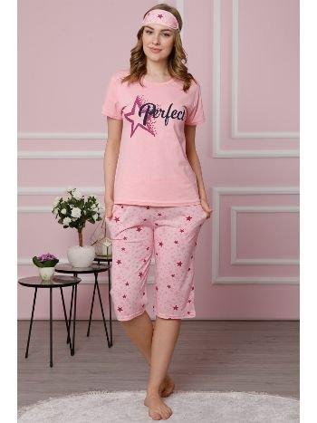 Akbeniz Kadın Pembe Pamuklu Cepli Kapri Pijama Takım 3510