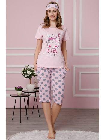 Akbeniz Kadın Pembe Pamuklu Cepli Kapri Pijama Takım 3511