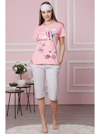 Akbeniz Kadın Pembe Pamuklu Cepli Kapri Pijama Takım 3516
