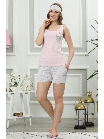 Akbeniz Kadın Pembe Pamuklu Cepli Şortlu Pijama Takım 4314