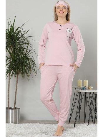 Akbeniz Kadın Pembe Pamuklu Cepli Uzun Kol Ribana Paça Pijama Takım 2468