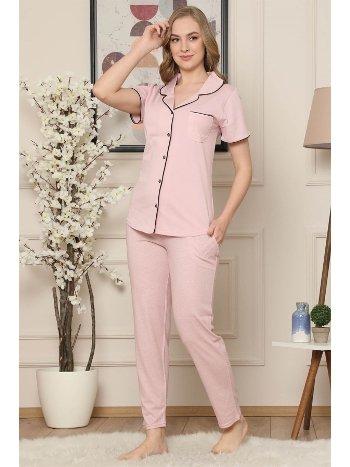 Akbeniz Kadın Pembe Pamuklu Düğmeli Cepli Kısa Kol Pijama Takım 2544