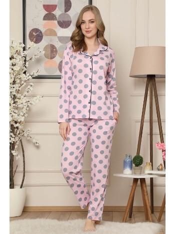 Akbeniz Kadın Pembe Pamuklu Düğmeli Cepli Uzun Kol Pijama Takım 2472