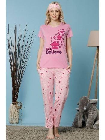 Akbeniz Kadın Pembe Renk Pamuklu Cepli Kısa Kol Pijama Takım 2523