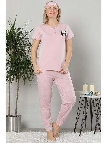 Akbeniz Kadın Pembe Renk Pamuklu Cepli Kısa Kol Ribana Paça Pijama Takım 2504