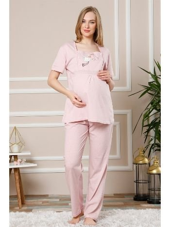 Akbeniz Kadın Pembe Renk Pamuklu Hamile Pijama Takımı 4501