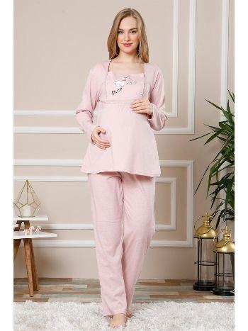 Akbeniz Kadın Pembe Renk Pamuklu Hamile Pijama Takımı 4510