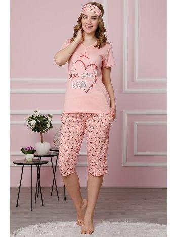 Akbeniz Kadın Pudra Pamuklu Cepli Kapri Pijama Takım 3522