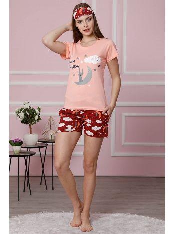 Akbeniz Kadın Pudra Pamuklu Cepli Şortlu Pijama Takım 4307