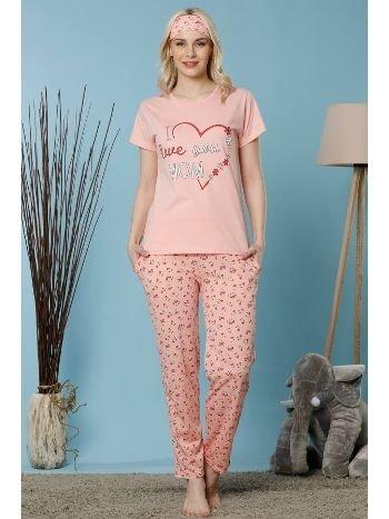 Akbeniz Kadın Pudra Renk Pamuklu Cepli Kısa Kol Pijama Takım 2522