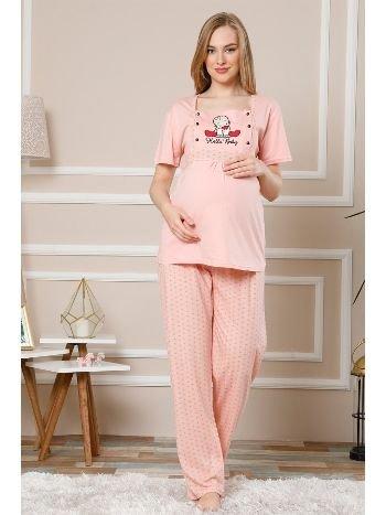 Akbeniz Kadın Pudra Renk Pamuklu Hamile Pijama Takımı 4504