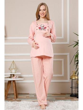 Akbeniz Kadın Pudra Renk Pamuklu Hamile Pijama Takımı 4513