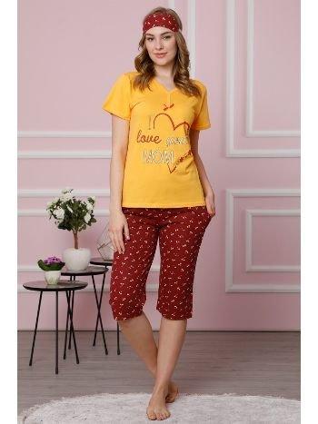 Akbeniz Kadın Sarı Pamuklu Cepli Kapri Pijama Takım 3517