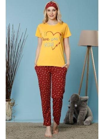 Akbeniz Kadın Sarı Renk Pamuklu Cepli Kısa Kol Pijama Takım 2525