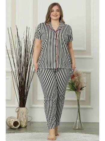 Akbeniz Kadın Siyah Beyaz Pamuklu Düğmeli Cepli Kısa Kol Büyük Beden Pijama Takım 202014