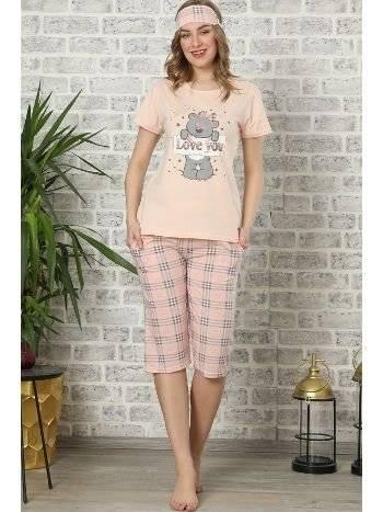 Akbeniz Kadın Somon Pamuklu Cepli Kapri Pijama Takım 3504