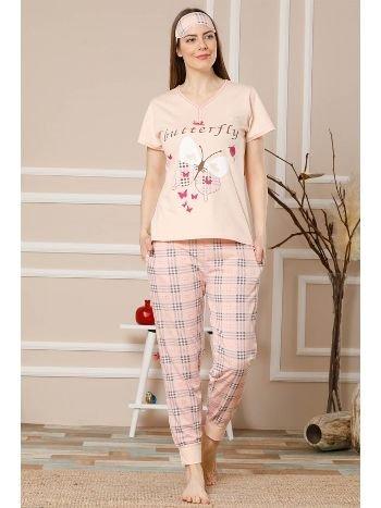 Akbeniz Kadın Somon Pamuklu Cepli Kısa Kol Ribana Paça Pijama Takım 2512