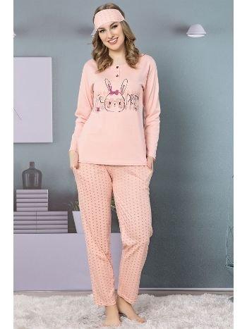 Akbeniz Kadın Somon Pamuklu Cepli Uzun Kol Pijama Takım 2466