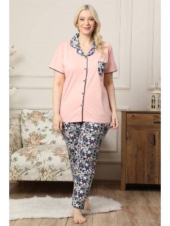 Akbeniz Kadın Somon Pamuklu Düğmeli Cepli Kısa Kol Büyük Beden Pijama Takım 202037
