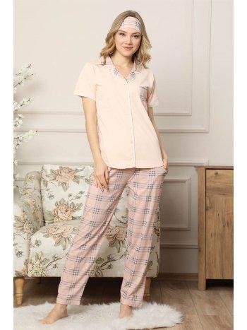 Akbeniz Kadın Somon Pamuklu Düğmeli Cepli Kısa Kol Pijama Takım 2540