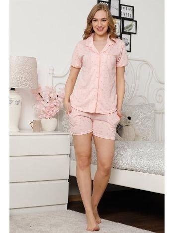 Akbeniz Kadın Somon Pamuklu Düğmeli Cepli Şortlu Pijama Takım 4305