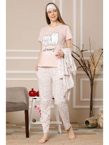 Akbeniz Kadın Somon Renk Pamuklu Cepli 3'lü Pijama Takım 1116