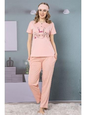 Akbeniz Kadın Somon Renk Pamuklu Cepli Kısa Kol Pijama Takım 2501
