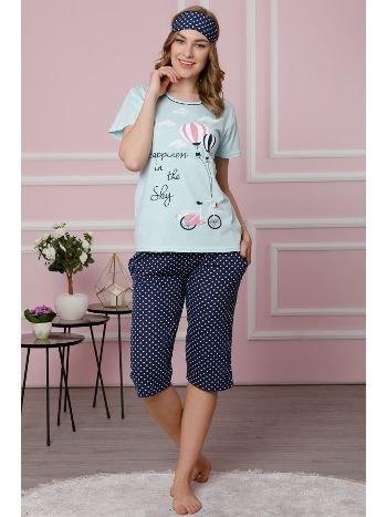 Akbeniz Kadın Su Yeşili Pamuklu Cepli Kapri Pijama Takım 3512