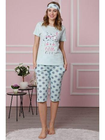 Akbeniz Kadın Su Yeşili Pamuklu Cepli Kapri Pijama Takım 3514