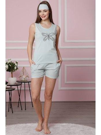 Akbeniz Kadın Su Yeşili Pamuklu Cepli Şortlu Pijama Takım 4308