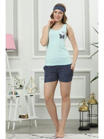 Akbeniz Kadın Su Yeşili Pamuklu Cepli Şortlu Pijama Takım 4313