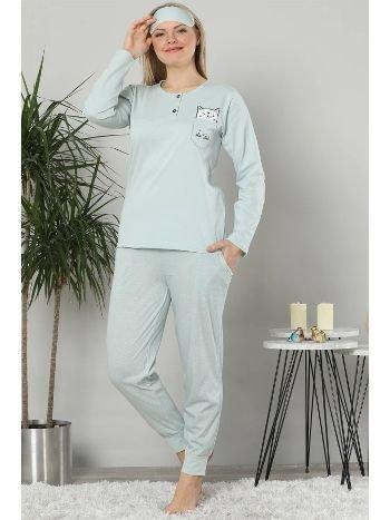 Akbeniz Kadın Su Yeşili Pamuklu Cepli Uzun Kol Ribana Paça Pijama Takım 2467