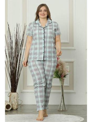 Akbeniz Kadın Su Yeşili Pamuklu Düğmeli Cepli Kısa Kol Büyük Beden Pijama Takım 202016